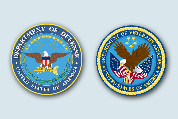 Department of Defense and Veterans Affairs seals