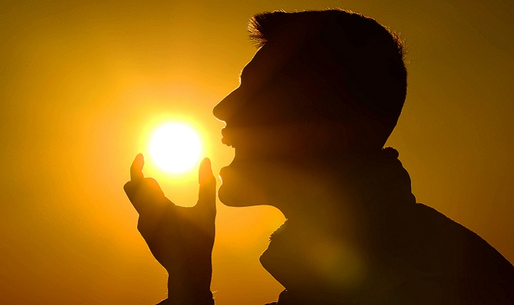 Air Force Senior Airman Michael Cossaboom pretends to eat the sun. Unlike other nutrients, vitamin D occurs naturally in very few foods, so it can be difficult to get enough through your diet. Vitamin D is an essential nutrient that your body produces when your skin is exposed to sunlight, but there are ways to get it from foods too. (U.S. Air Force photo by Senior Airman Jensen Stidham)