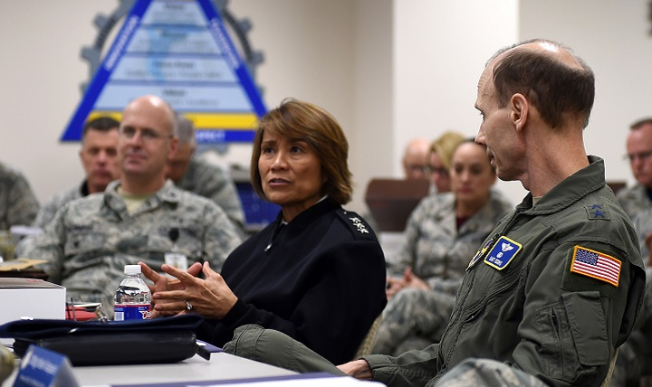 Navy Vice Adm. Raquel Bono, Director of the Defense Health Agency, describes how the Gateway Performance System could be used across the Military Health System at the 59th Medical Wing Gateway Academy in Wilford Hall Ambulatory Surgical Center, Joint Base San Antonio, Texas. The DHA supports the delivery of integrated, affordable, and high quality health services to Military Health System beneficiaries and is responsible for driving greater integration of clinical and business processes across the MHS. (U.S. Air Force photo by Staff Sgt. Kevin Iinuma)