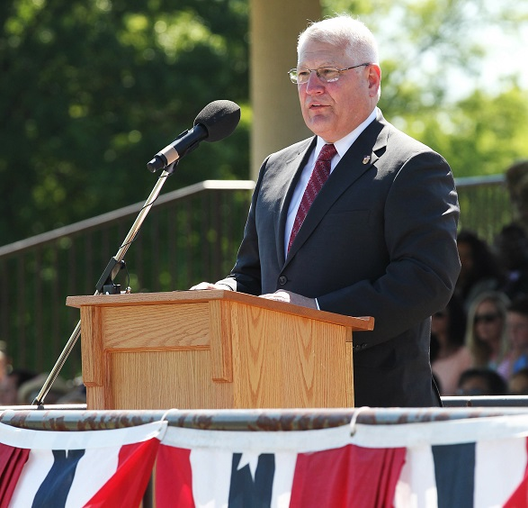 Retired Gen. Carter Ham addresses the crowd before his induction into the ROTC Hall of Fame at Fort Knox, Kentucky, in June 2016. (Photo by Michael Maddox)