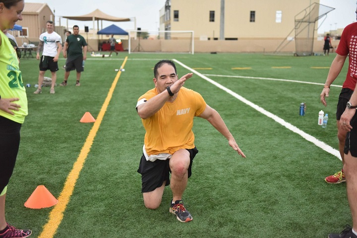 Navy Lt. Cmdr. Chris Lopez, chief of strategic outreach and engagement for the Military Health System, competes in an event during the Camp Lemonnier Amazing Race in Djibouti. (Courtesy photo)