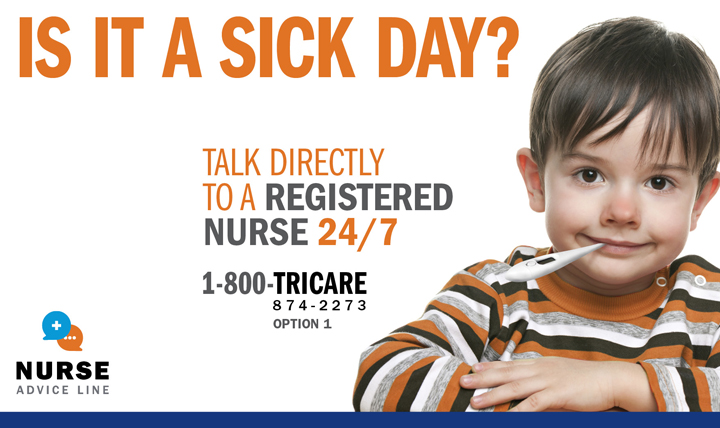 Military parents of children get some help in caring for their families from the Nurse Advice Line. Call 1-800-TRICARE, option 1 to get connected. (MHS graphic)