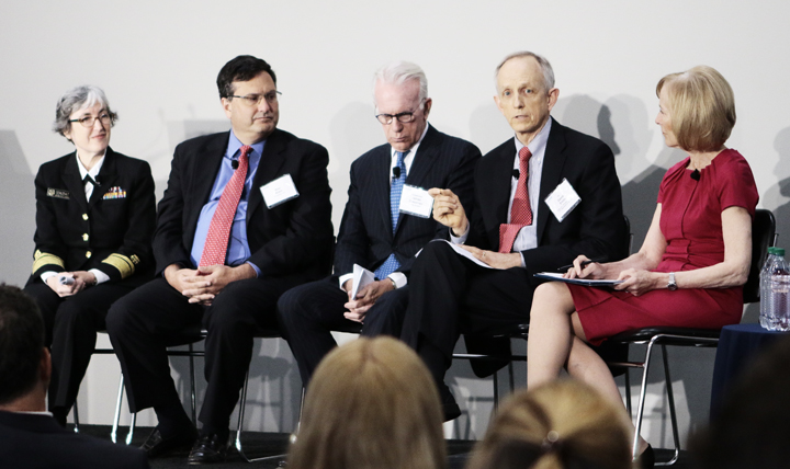 Dr. David Smith (second from the right) was part of a panel discussing the national security implications of epidemics during amfAR's recent conference in Washington, D.C. Other panelists included, from left to right, Rear Adm. Anne Schuchat, acting director, Centers for Disease Control and Prevention; Ron Klain, former White House Ebola response coordinator and executive vice president, Revolution, LLC; Dr. Smith; Ambassador James Glassman, former undersecretary for Public Diplomacy, U.S. Department of State; and moderator Judy Woodruff, anchor and managing editor, PBS Newshour.