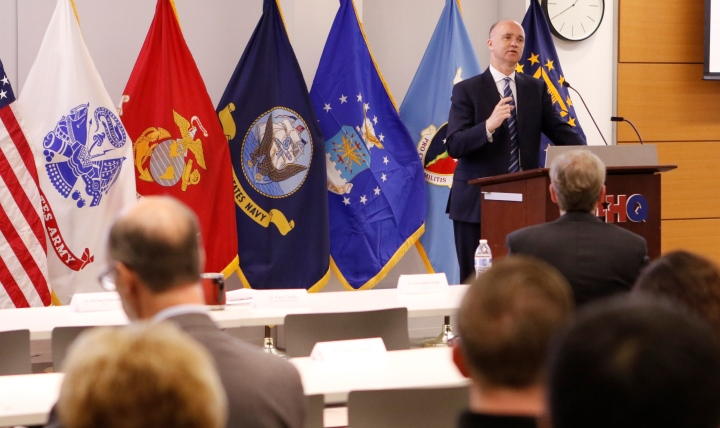 Dr. Paul Cordts, the Military Health System functional champion, addressed a group of clinicians, administrators, and private-sector civilians with previous experience with a similar electronic health record system to talk about MHS GENESIS.