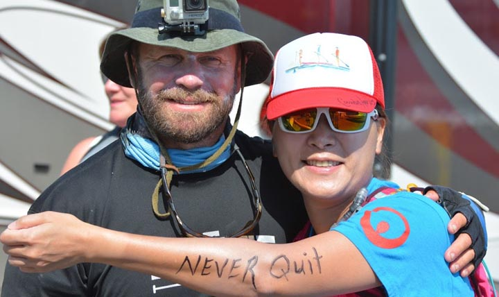 U.S. Army Special Operations veteran Josh Collins sustained several traumatic brain injuries over his career. Collins, shown here with a supporter he met along the way, is on a mission is to raise awareness about TBI and promote resources for nonprofit organizations that help service members and veterans like him. (Courtesy Photo by U.S. Army Special Operations veteran Josh Collins)