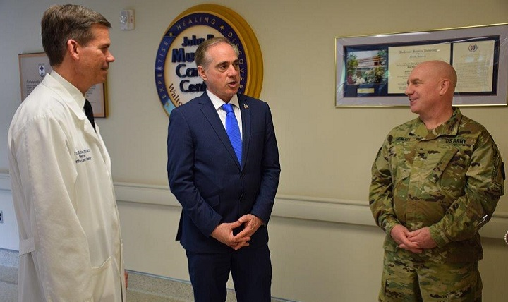 David J. Shulkin, Secretary of the Department of Veterans Affairs, visits Walter Reed National Military Medical Center Bethesda, Maryland, April 27. Shulkin, who visited the medical center for the first time, spoke with various providers throughout the facilities to learn about the medical care given at the hospital.