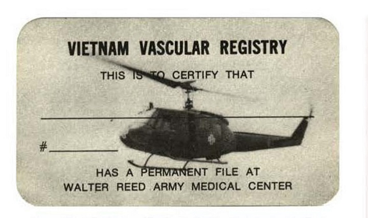 The Vietnam Vascular Registry, developed by Dr. Norman Rich at Walter Reed General Hospital, documented and analyzed blood vessel injuries in Vietnam. Each patient entered into the registry was assigned a consecutive number and given a vascular registry card, such as this one. (Courtesy photo by Dr. Norm Rich)