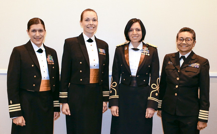 DoD honored its top female physicians for 2017 during an awards ceremony recently at the National Harbor Gaylord Convention Center in Oxon Hill, Maryland. Pictured are Navy Senior Award - Cmdr. Paulette R. T. Cazares, Naval Medical Center San Diego; Navy Junior Award - Lt. Cmdr. Heather L. Shibley, Naval Special Warfare Group Two Logistics and Support Unit, Falls Church, Virginia; Army Junior Award - Maj. Tatjana P. Calvano, Brooke Army Medical Center, Fort Sam Houston, Texas; and Public Health Service Senior Award - Capt. Luzviminda K. Peredo-Berger, U.S. Department of Homeland Security, Washington, D.C. Not pictured include Air Force Junior Award - Maj. Sarah M. Reynolds, Peterson Air Force Base, Colorado Springs, Colorado; Public Health Service Junior Award - Lt. Cmdr. Toya H. Kelley, Federal Correctional Institution Edgefield, South Carolina; Army Senior Award - Col. Mary J. Edwards, Brooke Army Medical Center, Fort Sam Houston, Texas; and Air Force Senior Award - Col. Gianna R. Zeh, Air Force Medical Operation Agency, Lackland, Texas.