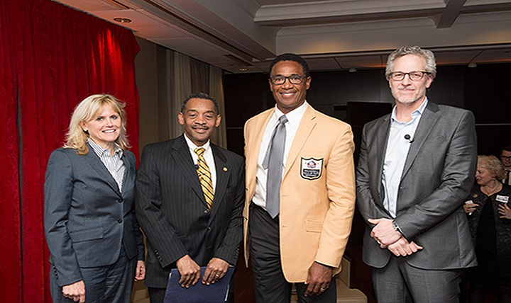 (From left) Ann McKee, director of the chronic traumatic encephalopathy program at Boston University, Dr. Jonathan Woodson, assistant secretary of Defense for Health Affairs, NFL Hall of Famer Mike Haynes and panel moderator Bob Tedeschi, senior writer for online health and life-sciences publication STAT.