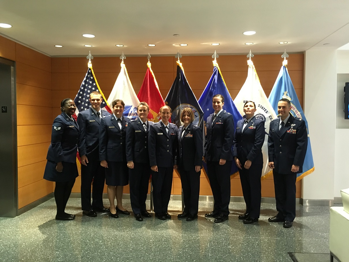 Air Force Service members who are participating in the Access to Care and Surgical Quality Learning Partnerships pose during a March 31, 2017 Results and Analysis Meeting in Washington, D.C. Four military treatment facilities met to report on their progress and results from the Learning Partnership program. The Military Health System has partnered with the Institute for Healthcare Improvement to help accelerate high reliability transformation.