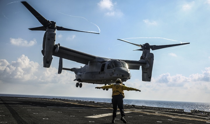 A Marine Corps MV-22B Osprey tiltrotor aircraft with Marine Medium Tiltrotor Squadron 262, 31st Marine Expeditionary Unit, takes off during flight operations aboard the USS Bonhomme Richard.