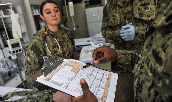 Doctors gain valuable insight by asking their patients about their family health history. Health problems, like diabetes and heart disease, can be higher-risk for patients whose family members have a history of certain ailments.  (U.S Navy photo by Mass Communication Specialist 1st Class Eric Dietrich)