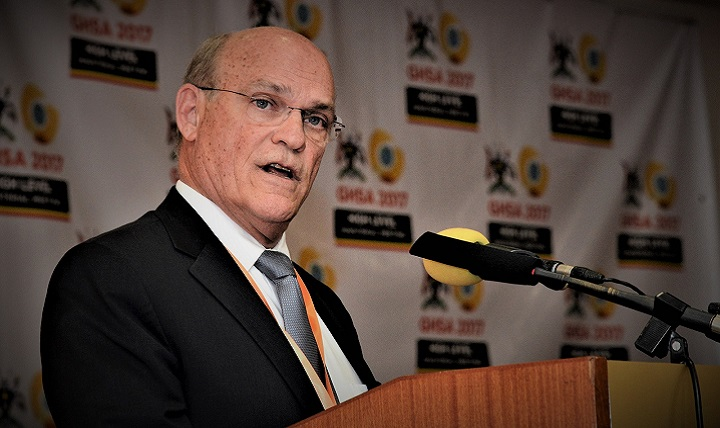 Admiral Tim Ziemer, head of U.S. delegation, giving remarks at the Global Health Security Agenda Ministerial Meeting in Kampala, Uganda.
