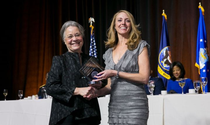 Dr. Robin Meadows, Outpatient Pharmacy Supervisor at Belvoir Hospital, accepted the 2016 Improved Access Award from the Association of Military Surgeons of the United States, at a ceremony in Washington Dec. 1. During the event, Navy Lt. Cmdr. Heather Shattuck was recognized as Nurse of the Year by the organization. This is the third year in a row that the honor has gone to a Belvoir Hospital nurse.