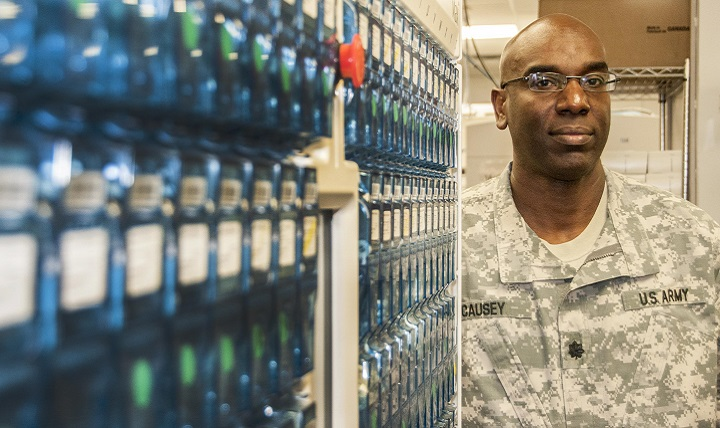 Then-Army Lt. Col. Stacey Causey, chief of pharmacy at the William Beaumont Army Medical Center on Fort Bliss, Texas, is pictured at work, June 15, 2016. With a recent promotion, Causey is now one of 12 colonels in the Army who are pharmacists. (U.S. Army photo by Marcy Sanchez)