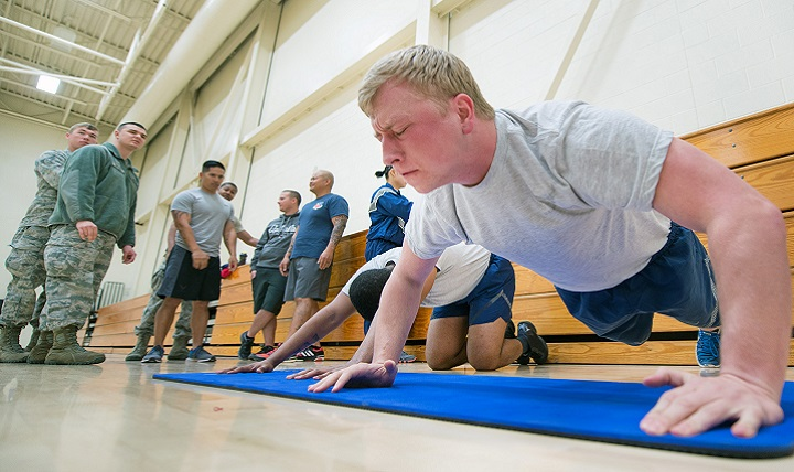 Push-ups are a simple, but telling, exercise. They measure your upper-body strength and endurance, but they're often a sticking point for service members during their fitness tests. So, how can you improve your push-up performance? The short answer is: Do more push-ups. (U.S. Air Force photo by Louis Briscese)