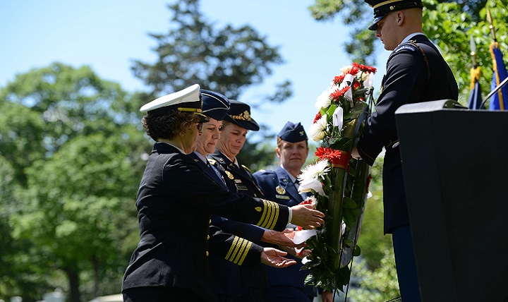 Several military nurses participated in laying a wreath at the Nurse's Memorial in Section 21 of Arlington National Cemetery, May 8, 2017, as part of National Nurses Week. (U.S. Army photo by C. Todd Lopez)